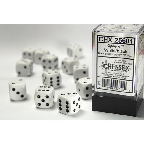 Chessex DICE SET 16mm OPAQUE WHITE