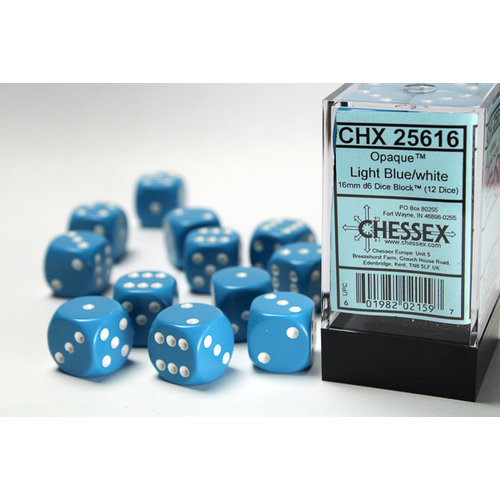 16mm D6 Light Blue//White CHX25616 Chessex Manufacturing Opaque 12