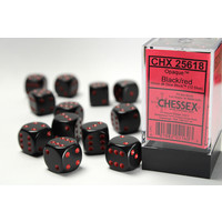 DICE SET 16mm OPAQUE BLACK-RED