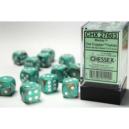 Chessex DICE SET 16mm MARBLE OXI-COPPER