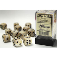 DICE SET 16mm MARBLE IVORY