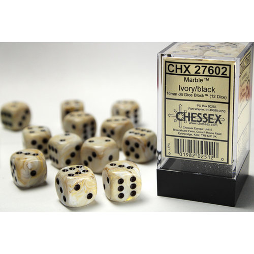 Chessex DICE SET 16mm MARBLE IVORY