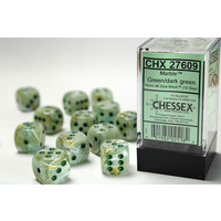 DICE SET 16mm MARBLE GREEN