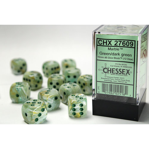 Chessex DICE SET 16mm MARBLE GREEN