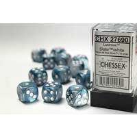DICE SET 16mm LUSTROUS SLATE w/WHITE