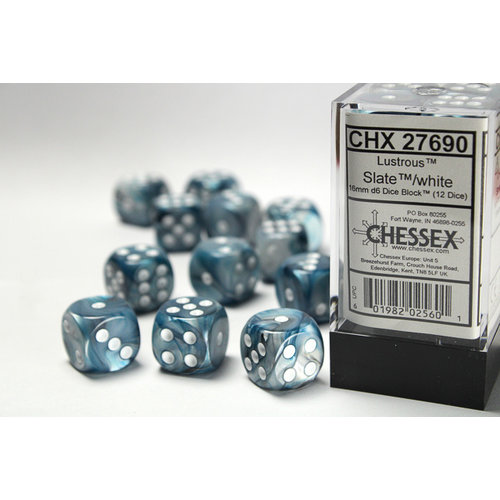 Chessex DICE SET 16mm LUSTROUS SLATE w/WHITE