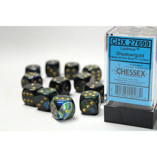 Chessex DICE SET 16mm LUSTROUS SHADOW w/GOLD