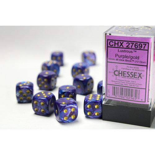 Chessex DICE SET 16mm LUSTROUS PURPLE w/GOLD