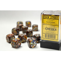 DICE SET 16mm LUSTROUS GOLD w/SILVER