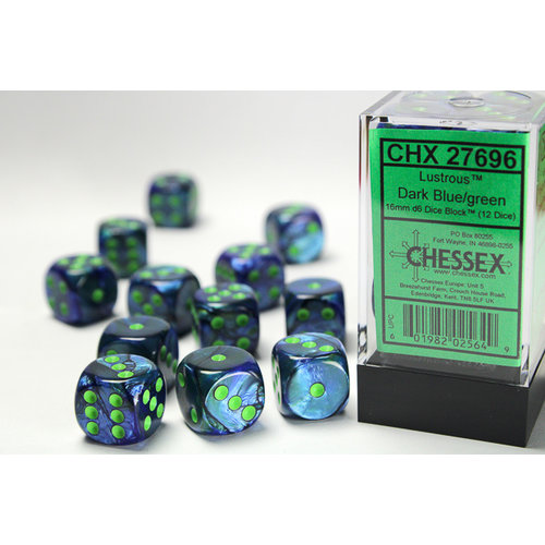 Chessex DICE SET 16mm LUSTROUS DARK BLUE w/GREEN