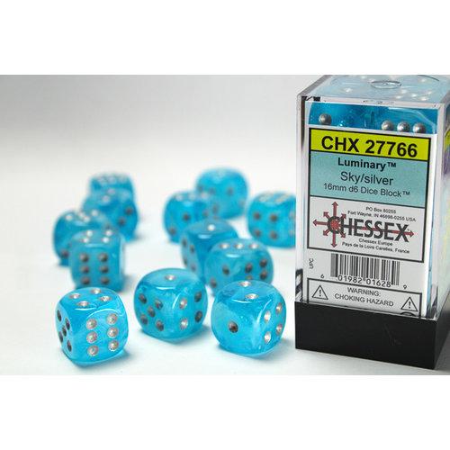 Chessex DICE SET 16mm LUMINARY: SKY / SILVER