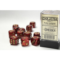 DICE SET 16mm GLITTER RUBY RED/GOLD