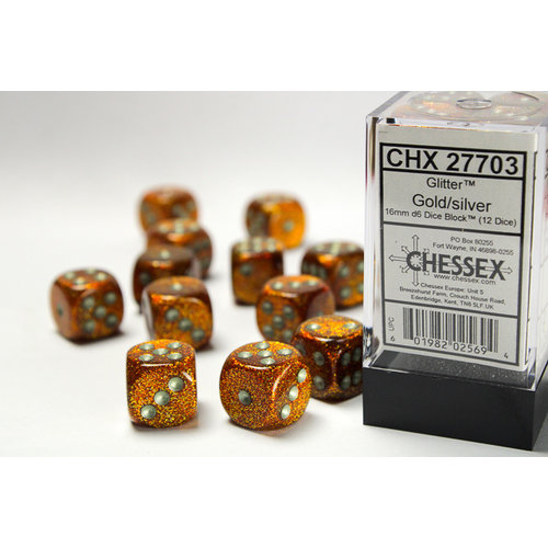Chessex DICE SET 16mm GLITTER GOLD/SILVER
