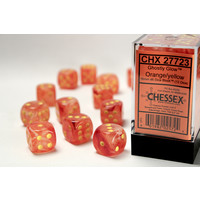 DICE SET 16mm GHOSTLY GLOW ORANGE/YELLOW