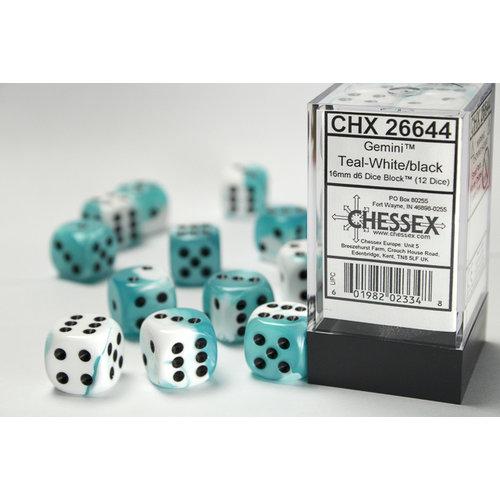Chessex DICE SET 16mm GEMINI TEAL-WHITE