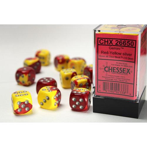 Chessex DICE SET 16mm GEMINI RED-YELLOW