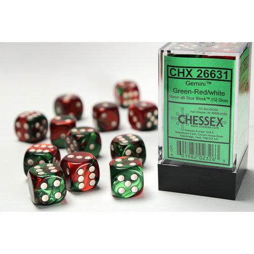 Chessex DICE SET 16mm GEMINI GREEN-RED