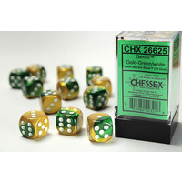 DICE SET 16mm GEMINI GOLD-GREEN