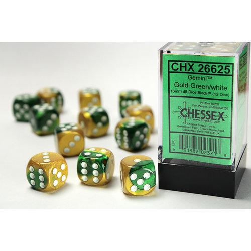 Chessex DICE SET 16mm GEMINI GOLD-GREEN