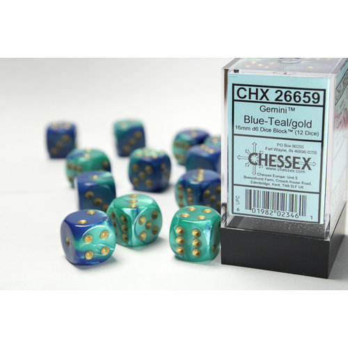 Chessex DICE SET 16mm GEMINI BLUE-TEAL