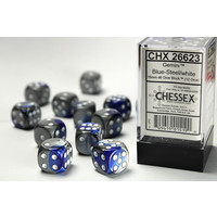 DICE SET 16mm GEMINI BLUE-STEEL