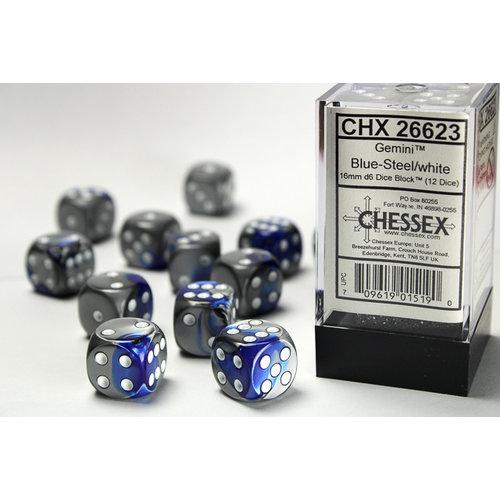 Chessex DICE SET 16mm GEMINI BLUE-STEEL