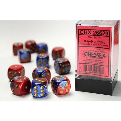 Chessex DICE SET 16mm GEMINI BLUE-RED