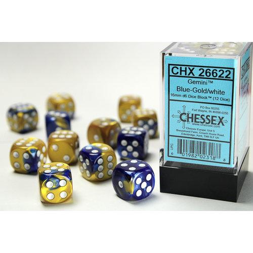 Chessex DICE SET 16mm GEMINI BLUE-GOLD