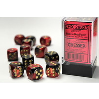 DICE SET 16mm GEMINI BLACK-RED