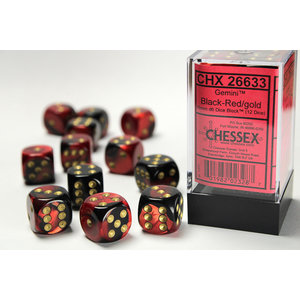 Chessex DICE SET 16mm GEMINI BLACK-RED
