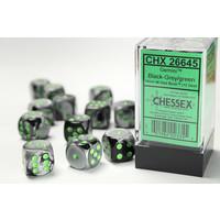 DICE SET 16mm GEMINI BLACK-GREY w/GREEN