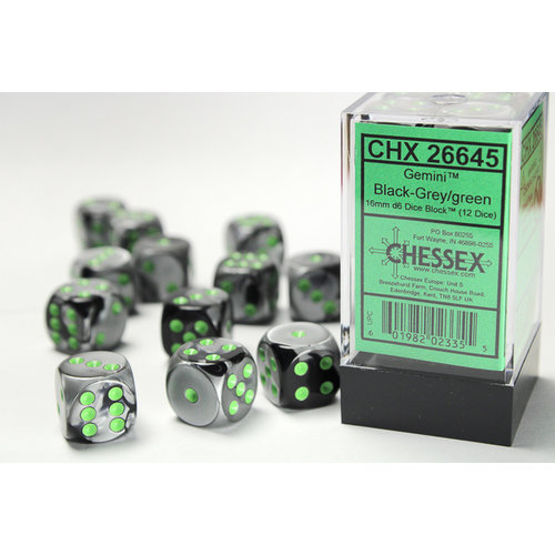 Chessex DICE SET 16mm GEMINI BLACK-GREY w/GREEN