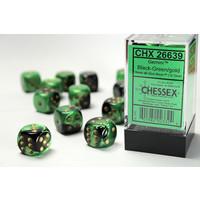 DICE SET 16mm GEMINI BLACK-GREEN