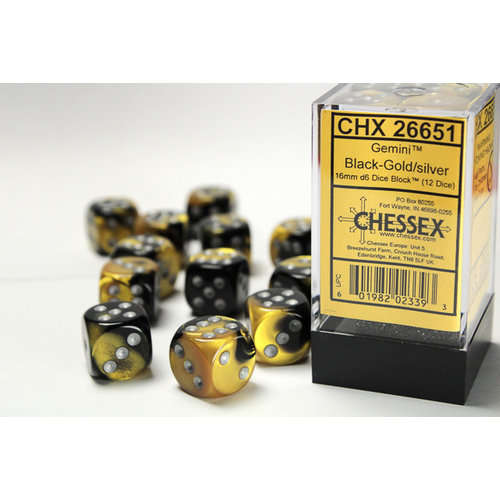 Chessex DICE SET 16mm GEMINI BLACK-GOLD