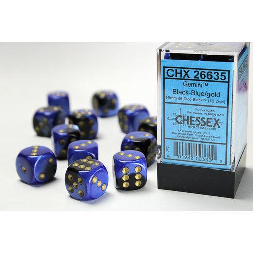 Chessex DICE SET 16mm GEMINI BLACK-BLUE