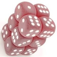 DICE SET 16mm FROSTED RED