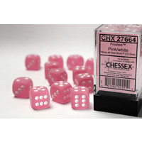 DICE SET 16mm FROSTED PINK