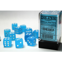 DICE SET 16mm FROSTED CARIBBEAN BLUE