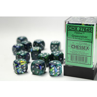 DICE SET 16mm FESTIVE GREEN