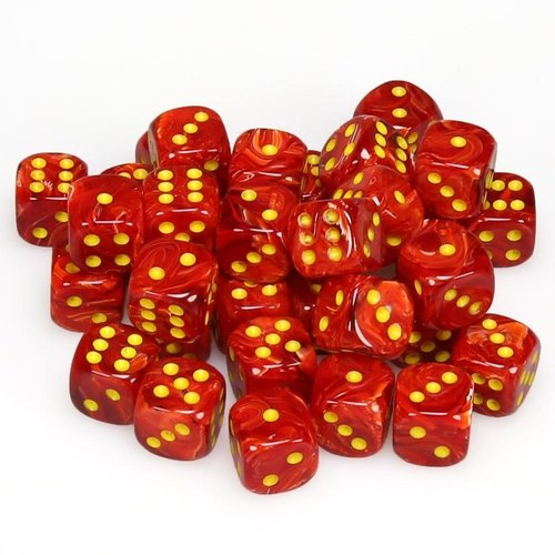 Chessex DICE SET 12mm VORTEX RED/YELLOW
