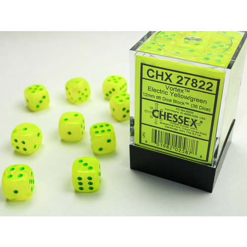 Chessex DICE SET 12mm VORTEX ELECTRIC YELLOW/GREEN