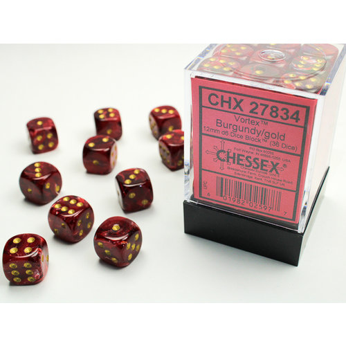 Chessex DICE SET 12mm VORTEX BURGUNDY