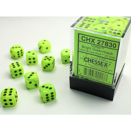 Chessex DICE SET 12mm VORTEX BRIGHT GREEN