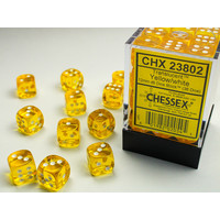 DICE SET 12mm TRANSLUCENT YELLOW
