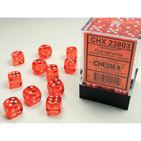 DICE SET 12mm TRANSLUCENT ORANGE