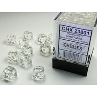 DICE SET 12mm TRANSLUCENT CLEAR