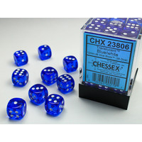 DICE SET 12mm TRANSLUCENT BLUE
