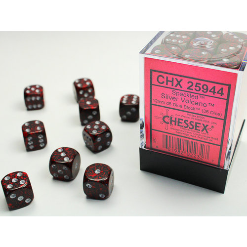 Chessex DICE SET 12mm SPECKLED SILVER VOLCANO