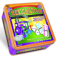 DOMINOES DOUBLE 12 MEXICAN TRAIN IN TIN BOX