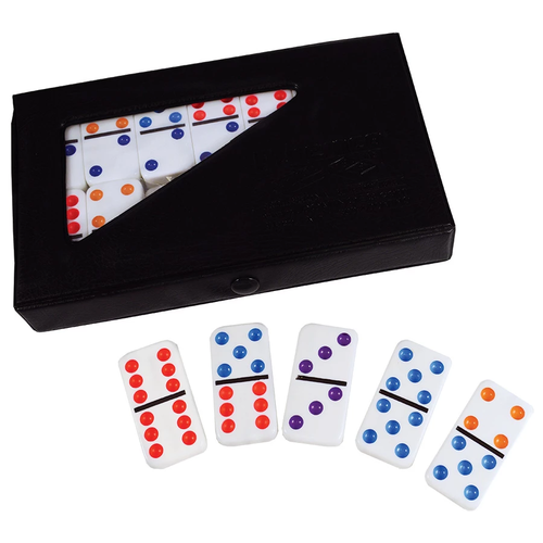 UNIVERSITY GAMES DOMINOES DOUBLE 6 STANDARD COLOR DOT